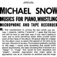 Snow, Michael - Music For Piano, Whistling, Microphone And Tape